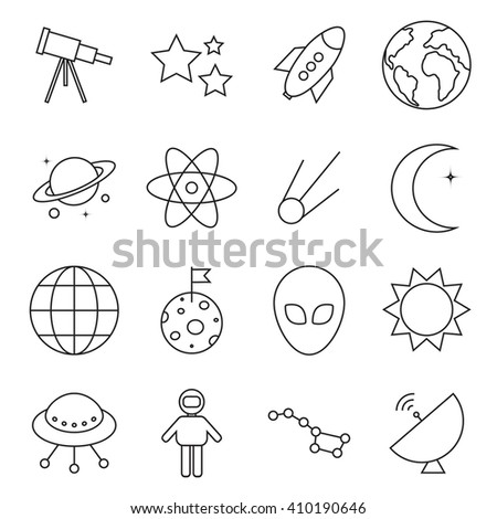 Set of black space icons on the white background. Modern vector art illustration for greeting card, banner, flyer, poster, book cover, t-shirt. Space template. Line style.