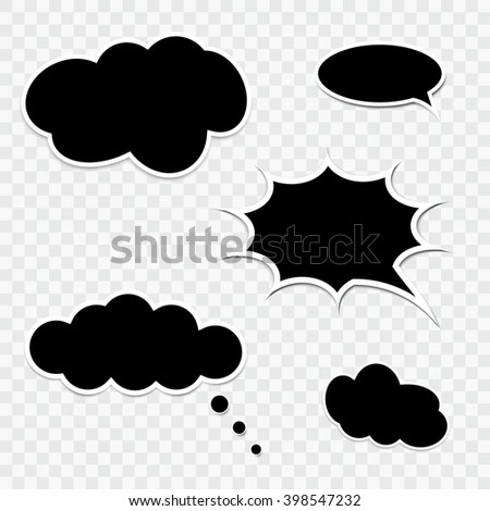 Set of black speech bubbles. Collection of comic bubbles - stock vector