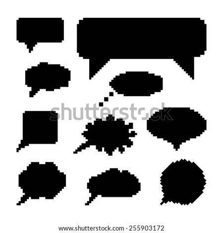 set of black speech bubbles in pixel art. concept of web communion, 8 bit game, onomatopoeia, video-game, marks. isolated on white background. pixelart style trendy modern design vector illustration - stock vector