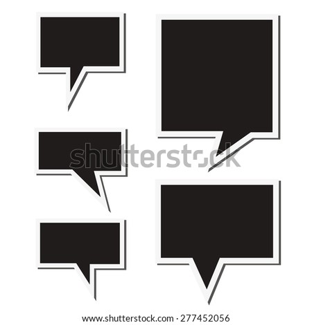 Set of black speech sticker bubbles. Isolated on white background.