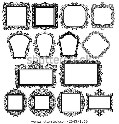 set of black square vintage frames, design elements - stock vector
