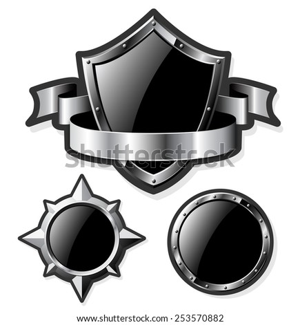 Set of black steel glossy shields isolated on white. Vector illustration.