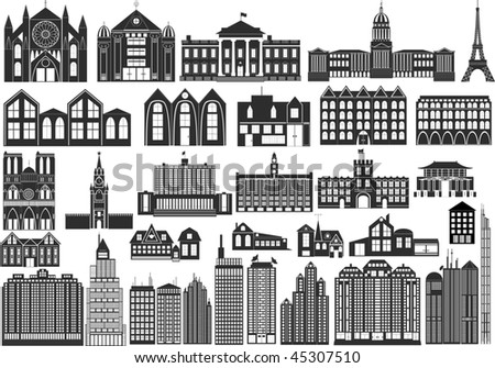 Set of black symbols of buildings, including famous - stock vector