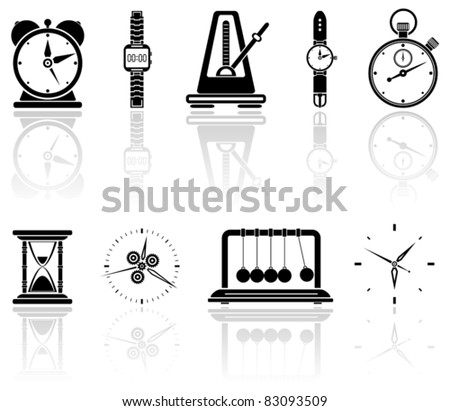 Set of black time icons, illustration - stock vector