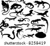 Set of black vector reptiles on the white - stock vector