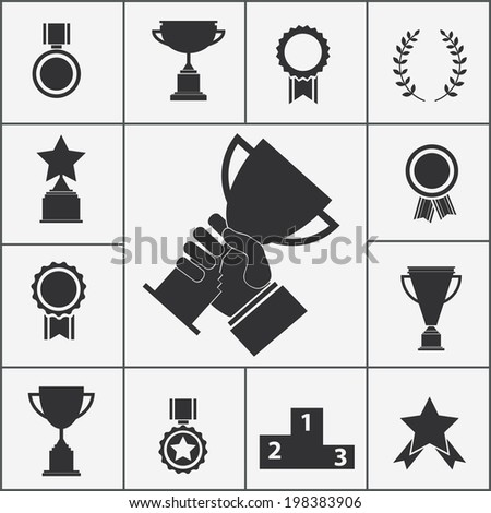 Set of black vector trophy and award icons - stock vector