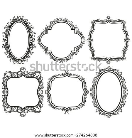 Set Black Vintage Frames On White Stock Vector HD (Royalty Free ...