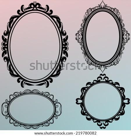 Set Black Vintage Round Frames Design Stock Photo (Photo, Vector ...