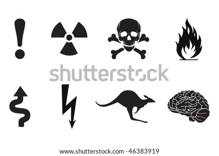 Set of black warning signs, silhouettes - stock vector