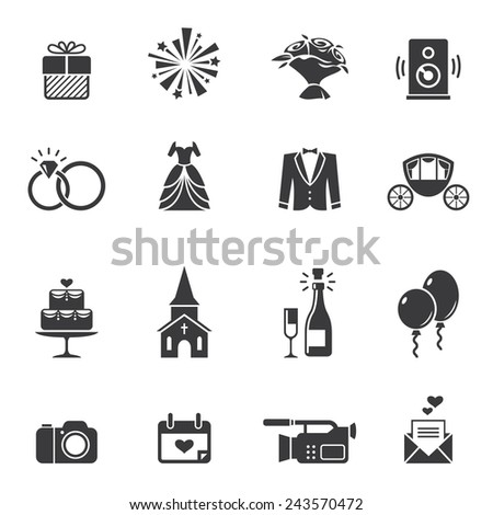 Set of black wedding icons isolated on white - stock vector