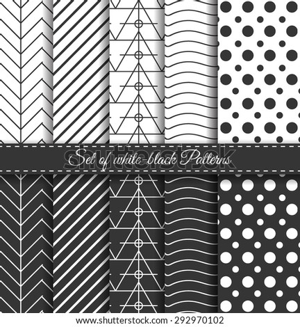 Set of black-white abstract vector linear stripes geometric pattern. Wrapping paper. Paper for scrapbook. Vintage hipster striped. Stylish graphic texture for your design. - stock vector