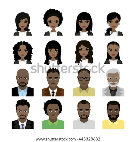 Set of Black Women and man avatar isolated on white background . Faces and hair styles. Vector stock illustration