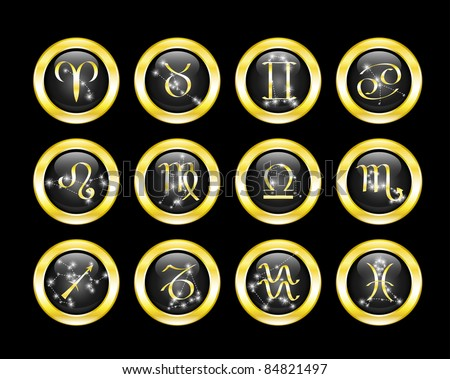 Set of black zodiac buttons decorated zodiac constellations - stock vector