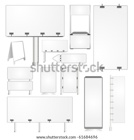 Set of blank advertising billboards and panels - stock vector
