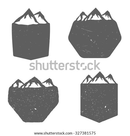 Set Of Blank Badges Shields With Mountains In Vintage Monochrome Style