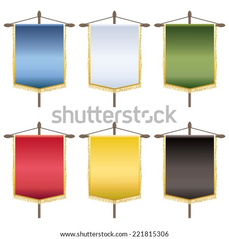 set of blank banners with gold fringing, six variations isolated on white - stock vector