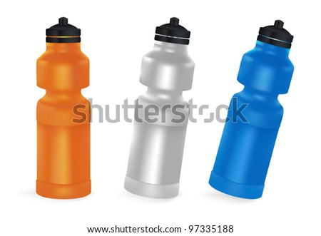 Set of blank bicycle plastic bottles for water. - stock vector