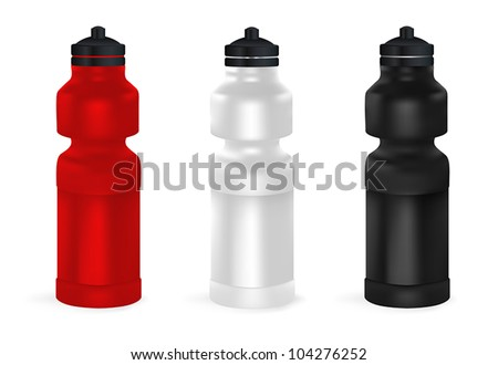 Set of blank bicycle plastic water bottles. - stock vector