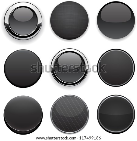 Set of blank black buttons for website or app. Vector eps10. - stock vector