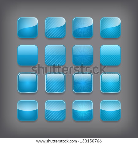 Set of blank blue buttons for you design or app. - stock vector