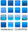Set of blank blue square buttons for website or app. Vector eps10. - stock photo