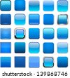 Set of blank blue square buttons for website or app. Vector eps10. - stock vector