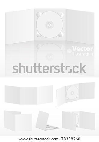 Set of blank cd covers on white. Vector illustration - stock vector