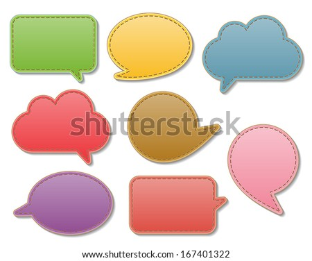 set of blank colorful leather speech bubbles with stitch. vector.