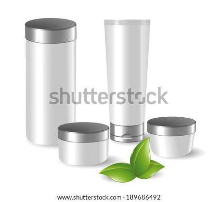 Set of blank cosmetic containers with green leafs - stock vector