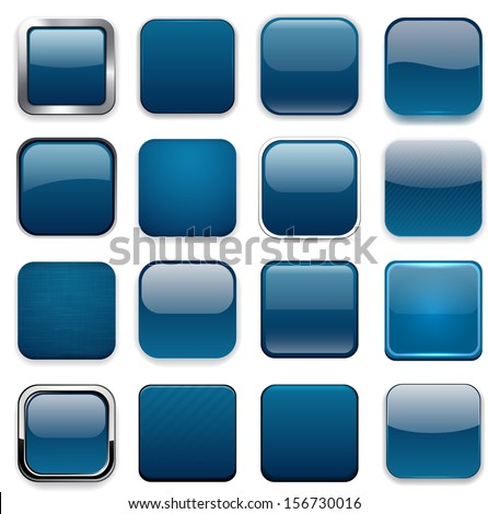 Set of blank dark blue square buttons for website or app. Vector eps10. - stock vector