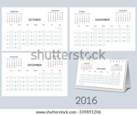 Set of blank desktop monthly planning calendar 2016 year, start  Sunday. Vector illustration. - stock vector