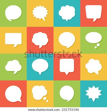 Set of blank empty white speech bubbles and dialog balloons on colorful background. Flat design icons. - stock vector