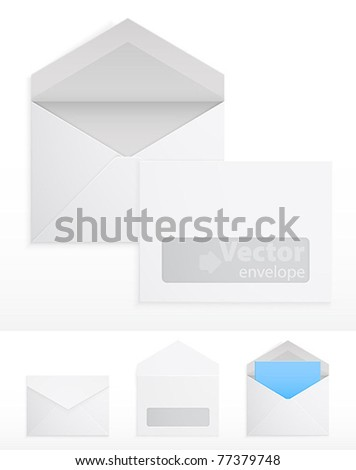 Set of blank envelops on white. Vector illustration - stock vector