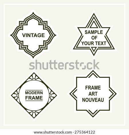 Set of blank for retro vintage badges, borders, frames and labels - stock vector