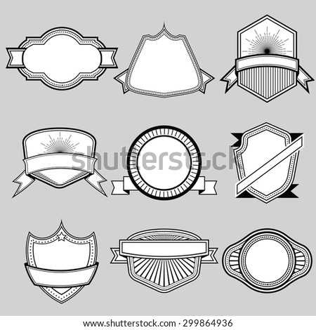 Set of blank frame badges ribbons and labels set 9 . Vector illustration - stock vector