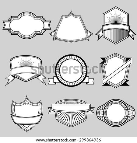 Set of blank frame badges ribbons and labels set 9 . Vector illustration - stock vector
