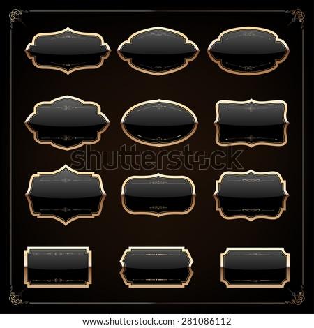 Set of 12 blank golden vintage frame,banner,label,Vector EPS10. - stock vector