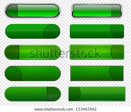 Set of blank green buttons for website or app. Vector eps10. - stock vector