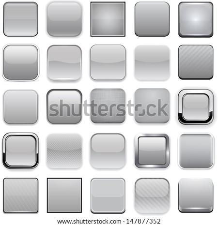 Set of blank grey square buttons for website or app. Vector eps10. - stock vector