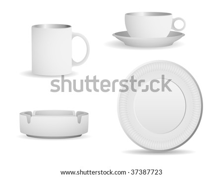 Set of blank objects that can be used for any type of packaging. Eps 8, linear and radial gradients. - stock vector
