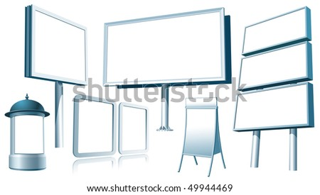 Set of blank outdoor advertising constructions. Vector. - stock vector