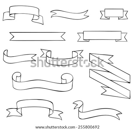 Set of blank outline ribbons - stock vector