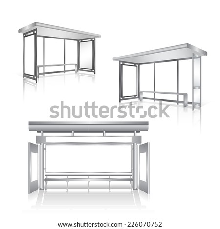 Set of blank panel bus stop vector - stock vector