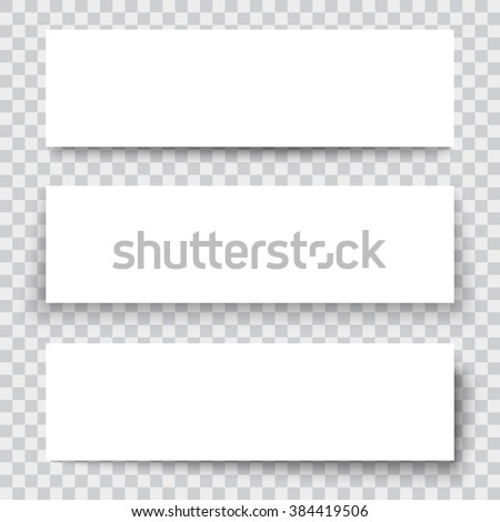 Set of blank paper sheet with vertical banner and shadow, design element for advertising and promotional isolated on transparent background. Vector illustration white box sticker. Label header page - stock vector