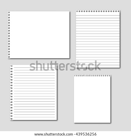 Set of blank paper sheets. Notebook paper background - stock vector