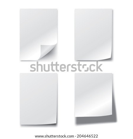 Set of blank paper sheets. Vector illustration - stock vector