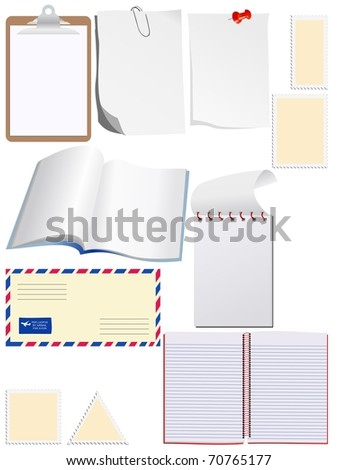 Set of blank paper. Vector