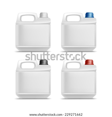 Set of Blank Plastic Jerrycan Canister Gallon Oil Cleanser Detergent Abstergent Isolated - stock vector