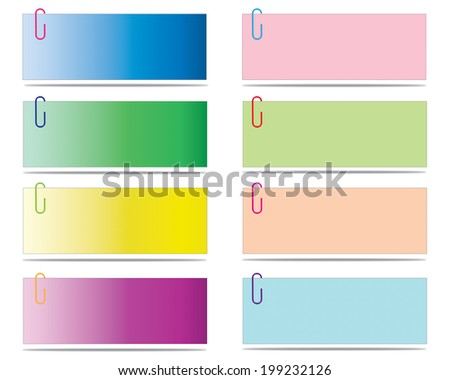 Set of blank post-it notes with clip, vector eps10 illustration - stock vector