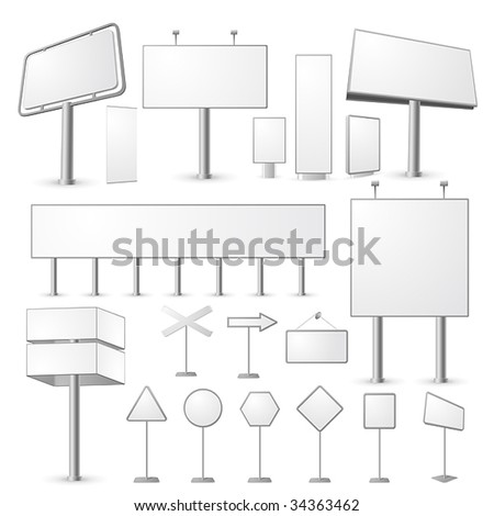 Set of blank, realistic vector advertising constructions - stock vector